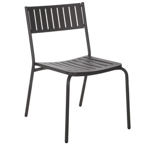 Steel side chair with slats