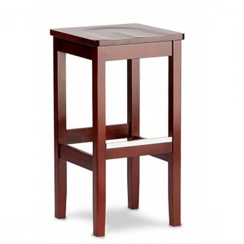 backless barstool with wooden seat