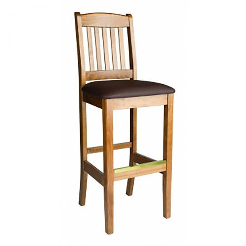 wooden barstool with upholstered seat cushion