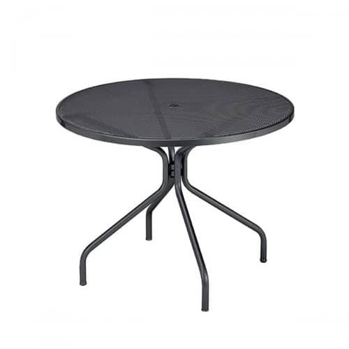"""48"""" R Steel mesh with steel frame table with base"""