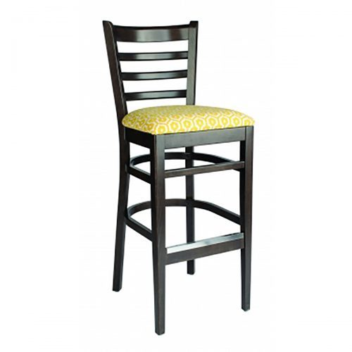 wood barstool with upholstered seat and wood back