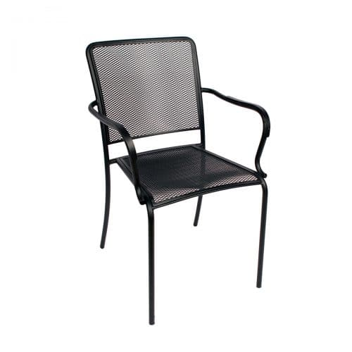 black mesh outdoor stacking arm chair