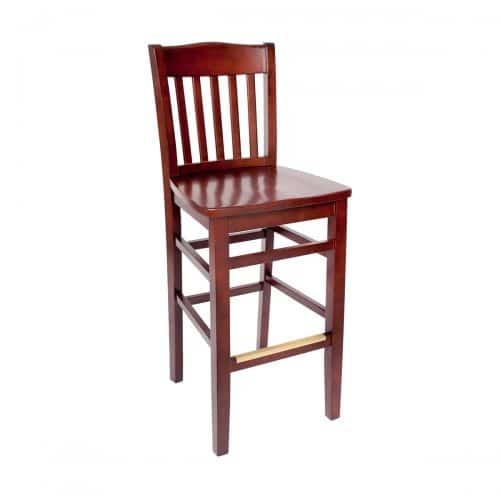 barstool with vertical back bars and wood seat