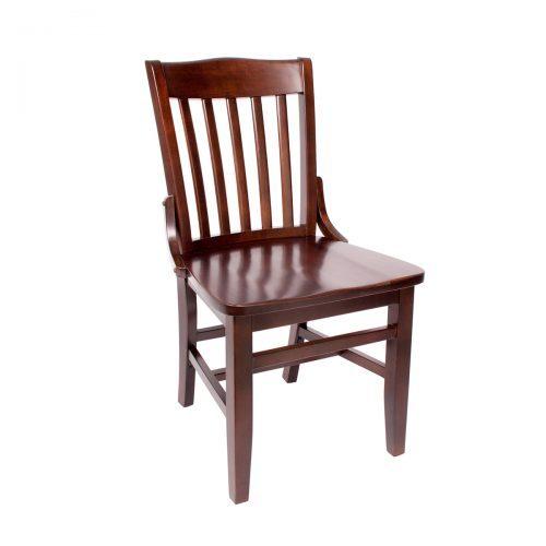 walnut side chair vertical back bars, upholstery and decorative brackets