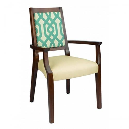 accent arm chair with wood finish and upholstered seat and back