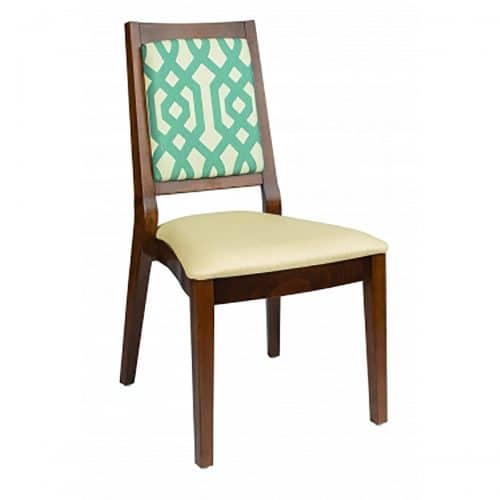 stacking side chair with upholstered seat and back