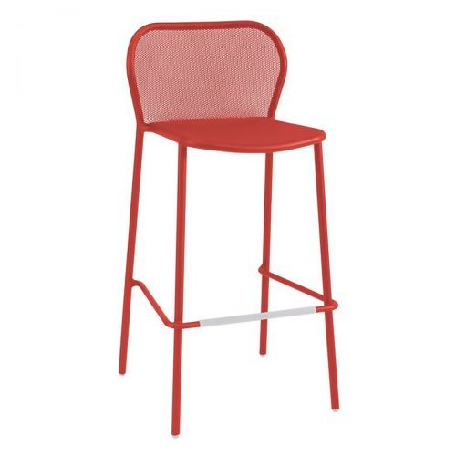 extended steel mesh barstool in cherry