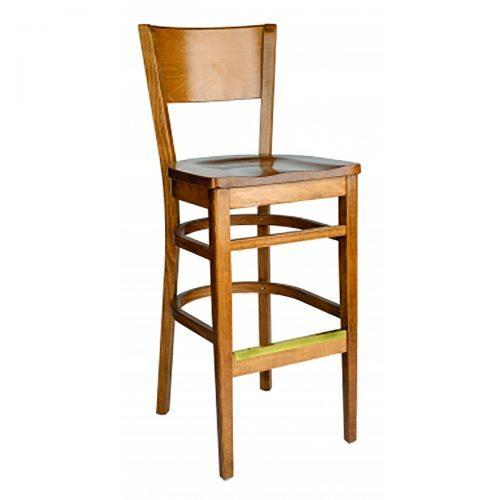 wood barstool with wood seat and wood back