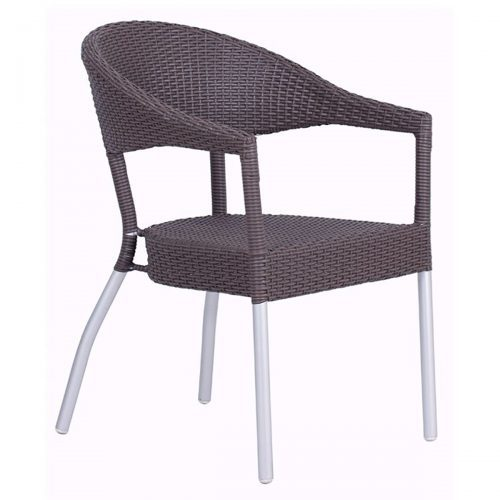 donna arm chair with wicker and aluminum