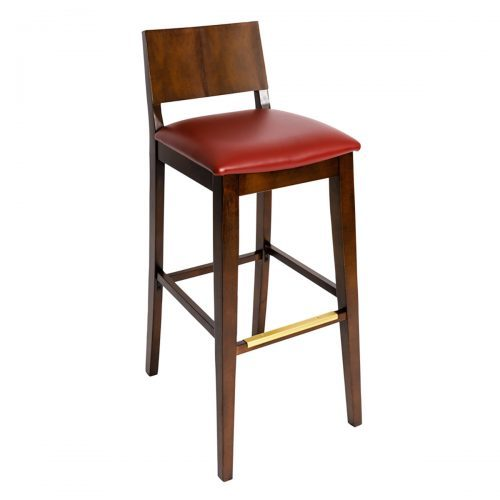 modern barstool with raised back and upholstery seat