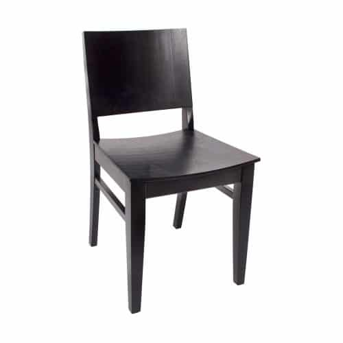 modern chair with raised back and wood seat