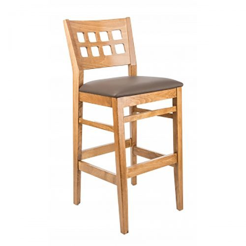 light wood barstool with raised back and upholstered seat