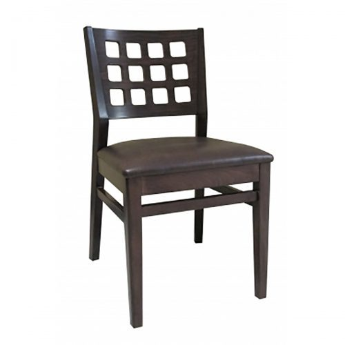 dark wood chair with raised back and upholstered seat