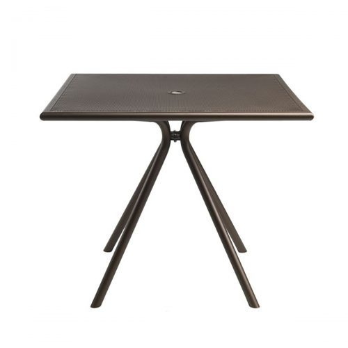 """36"""" sq perforated steel mesh table with umbrella hole"""