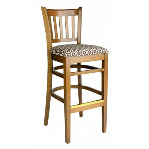 wood barstool with vertical panels and pattern upholstered seat and wood back