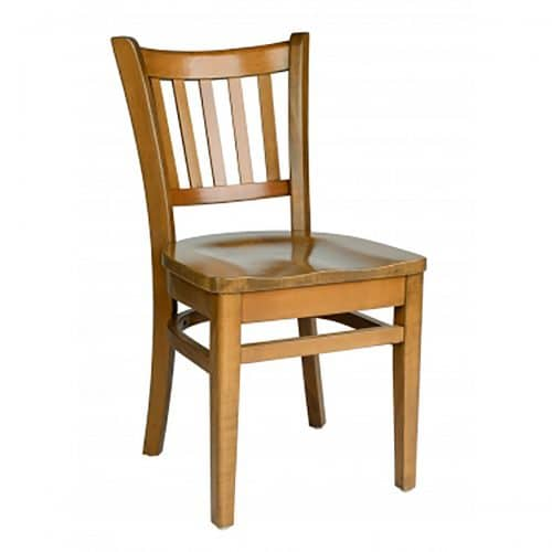 wood chair with vertical panels and wood seat and back