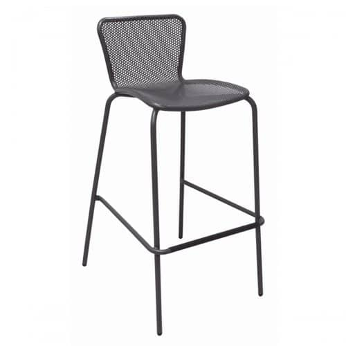 steel barstool with perforated steel mesh in seat and back