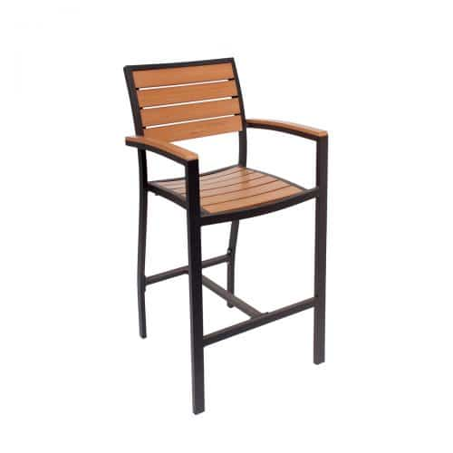 outdoor arm barstool with black finish and synthetic teak