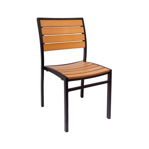 outdoor side chair with black finish and synthetic teak