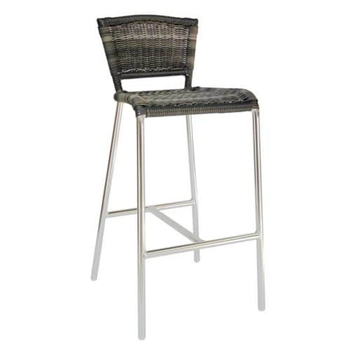laura barstool with aluminum frame and synthetic wicker