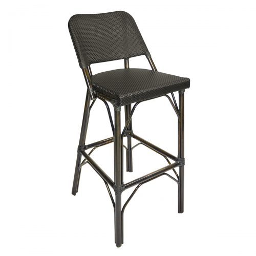 black weave outdoor barstool with brown frame