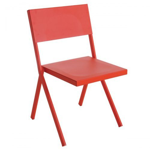 red aluminum side chair
