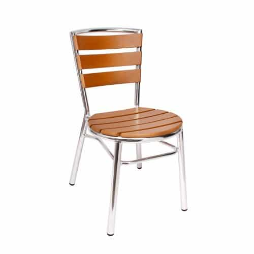 aluminum outdoor side chair with synthetic teak seat and back