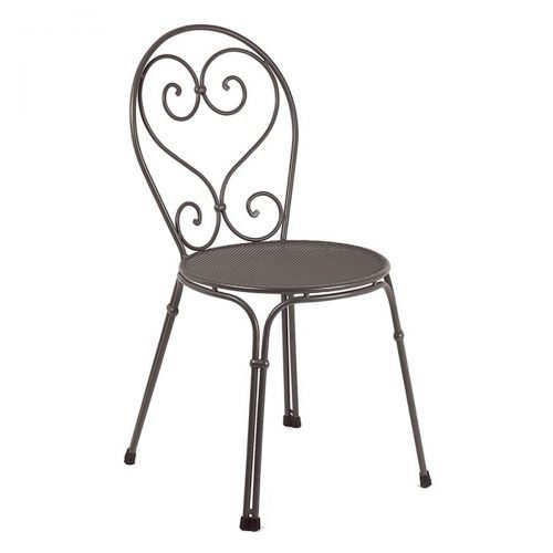 Extended Steel Mesh and Wrought Iron side chair