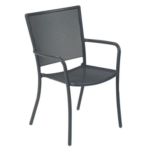 podio arm chair with small interlace steel mesh