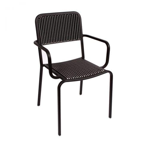 black weave outdoor arm chair