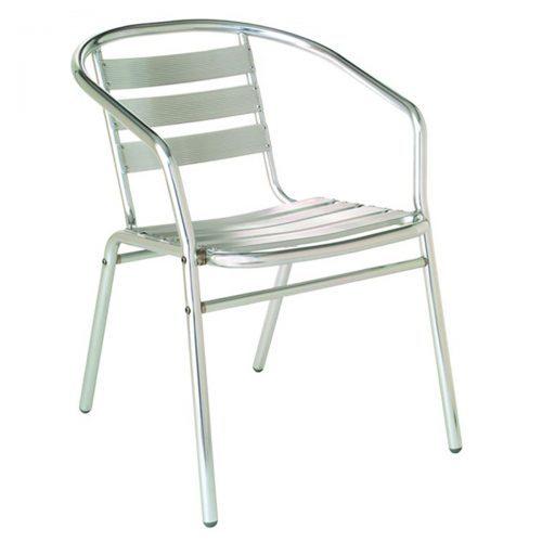 sara arm chair with aluminum frame and slats
