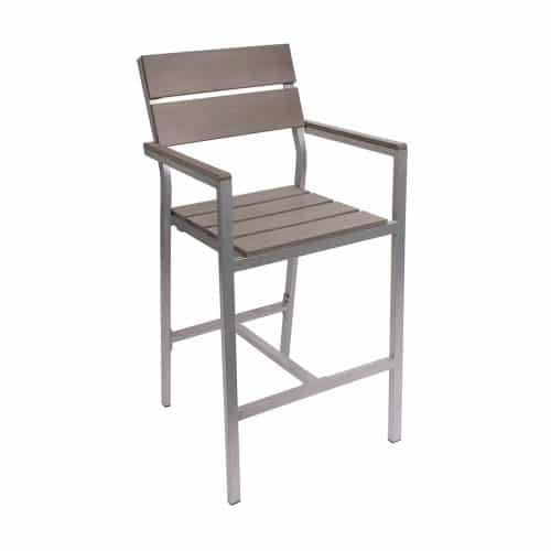 soft gray outdoor barstool with arms
