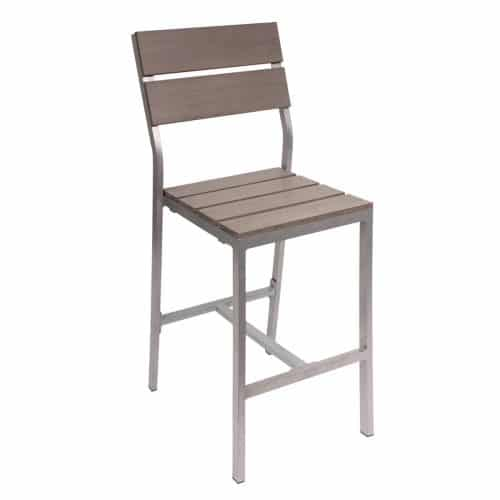 gray wood outdoor side barstool
