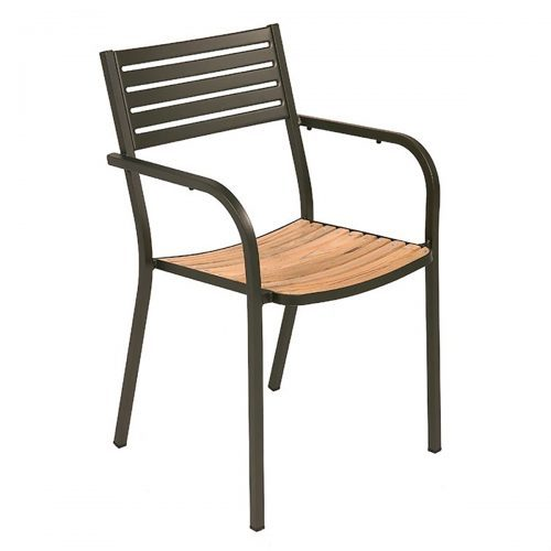 segno steel arm chair with teak slats