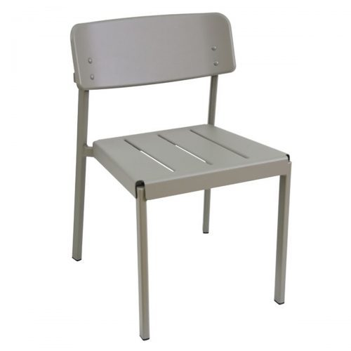 Taupe aluminum side chair