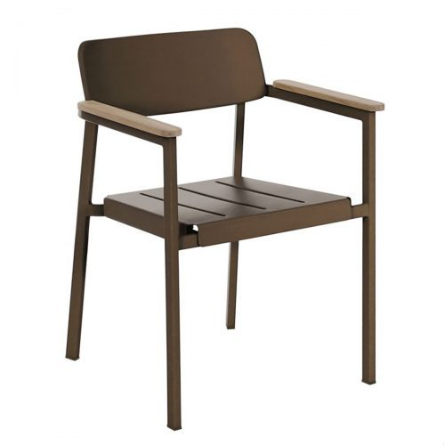 shine arm chair with aluminum and teak