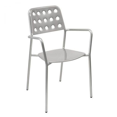 shot arm chair with circular back design