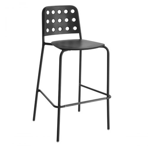 shot barstool in steel structure with circle design pattern