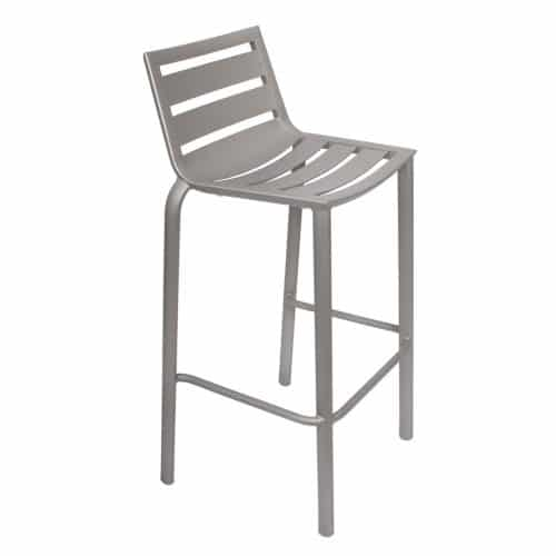 silver barstool with ladder seat and back