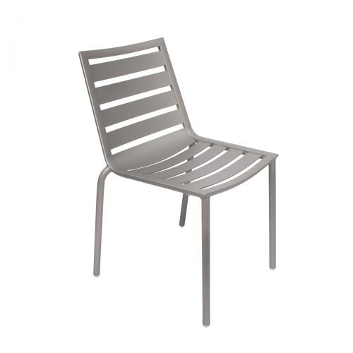 silver outdoor side chair with ladder seat and back