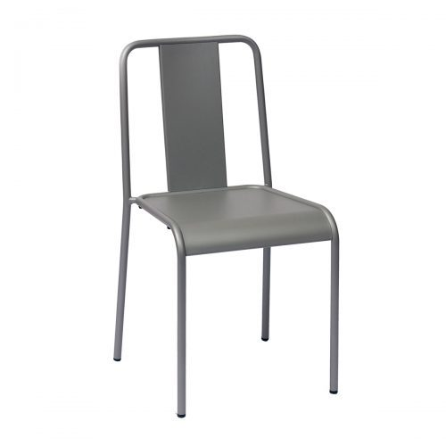 silver outdoor stackable side chair