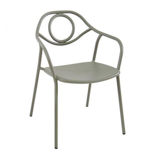 zoe arm chair in steel