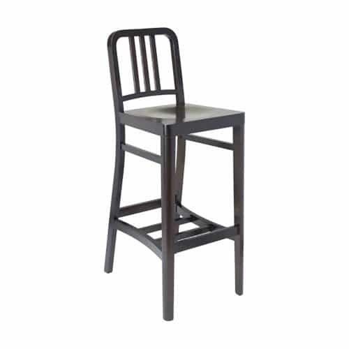 Dark wood barstool with saddle seat and wood bars on back