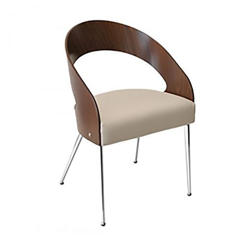 modern chair with wood cut out back and upholstery
