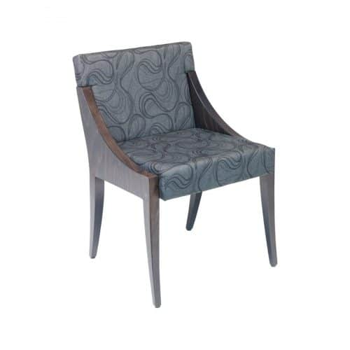 upholstered side chair with wood frame and swivel pattern