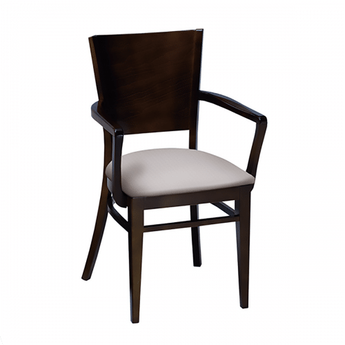 arm chair with wood back and upholstered seat