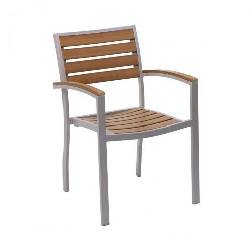 Wooden and aluminum seat