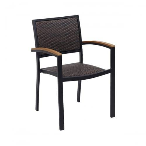 outdoor java weave arm chair with black frame
