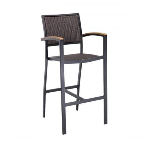 outdoor arm barstool with black frame and java weave seat and back
