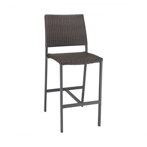 outdoor barstool in anthracite with indo weave seat and back